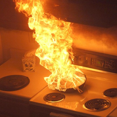 Stovetop on fire